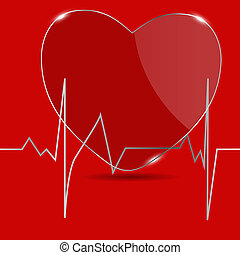 Cardiogram with heart. Vector illustration.