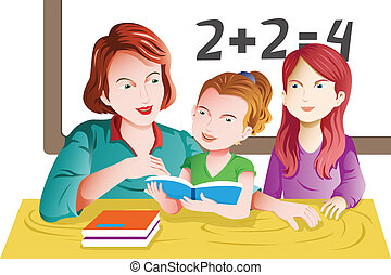 Teacher and student in the classroom - A vector illustration...