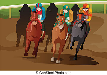 Horse racing - A vector illustration of horse racing in a...