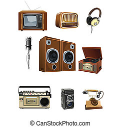 Vintage media stuff icons - A vector illustration of vintage...