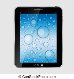 Tablet icon vector illustration with waterdrops