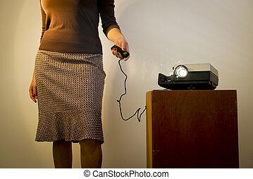 escorregar, mulher,  retro, projetor