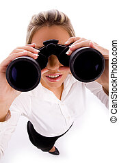 top view of manager looking through binocular on an isolated...