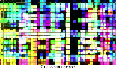 abstract colourful pattern of LED light squares Could be a...