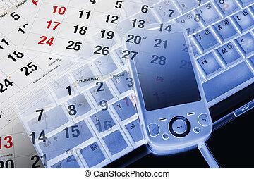 Smart Phone and Calendar - Composite of Smart Phone and...