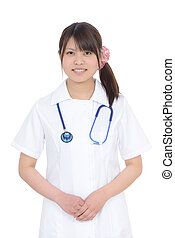 Young asian female nurse - Portrait of young asian female...
