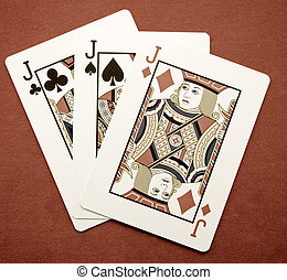 cards - three jacks playing cards