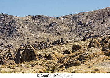 Rugged Landscape of the Alabama Hills - Alabama Hills are a...
