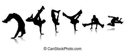 Breakdance - Silhouettes guys dancing a break on white...