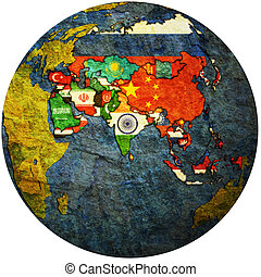 political map of asia on globe map