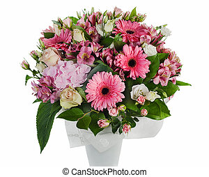 colorful floral bouquet of roses, lilies and orchids...