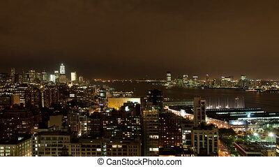 view of lower manhattan skyline from a high vantage point at...