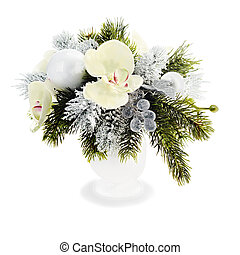 Christmas arrangement of Christmas balls, orchids,...