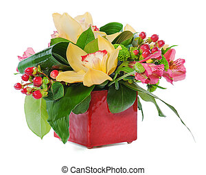 colorful floral bouquet of roses, cloves and orchids...