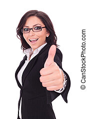 business woman shows thumb up - young business woman showing...