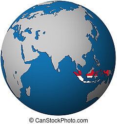 indonesia on globe map - isolated over white territory of...