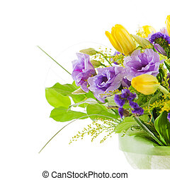 fragment of colorful bouquet of roses, tulips and freesia...