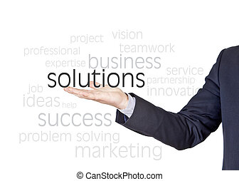 solutions business words - businessman who offers solutions...