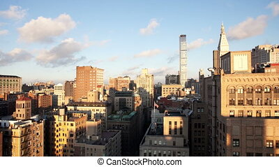 timelapse of midtown manhattan skyline from a high vantage point on a beautiful morning