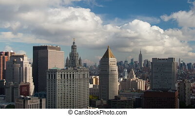 timelapse of lower manhattan skyline from a high vantage...