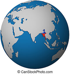myanmar on globe map - isolated over white territory of...
