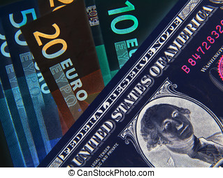 Negative Equity - Negative image of Dollar and Euros bank...