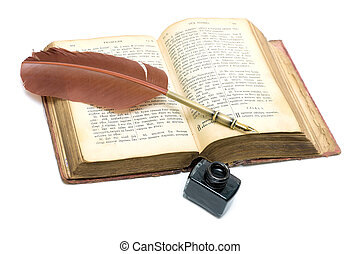 a, antigas, abertos, livro, -, evangelho, antigas, russo,...