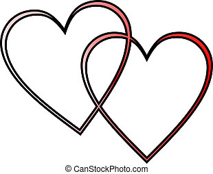 two hearts - two outlined hearts interlocked, red gradient...