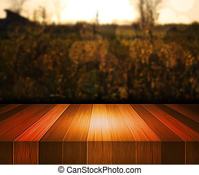 Wooden Stage Nature Background