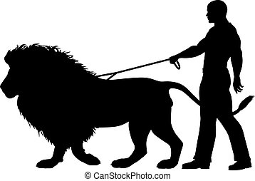 Lion walker - Editable vector silhouette of a man walking a...