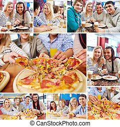 Friends in cafe - Collage of teenage friends spending time...