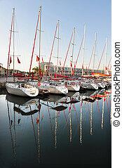 Herzliya Marina - Israel - HERZLIYA,ISR- JAN 10:Sailing...