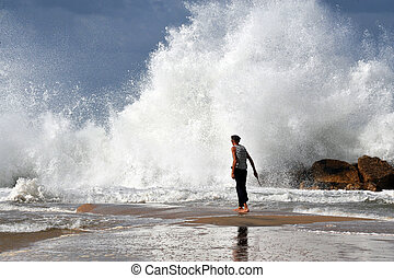 Big waves in Israel - ASHKELON - NOV 02:Israeli man walk...