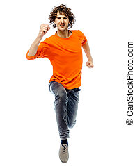 young man running front view - one young man caucasian...