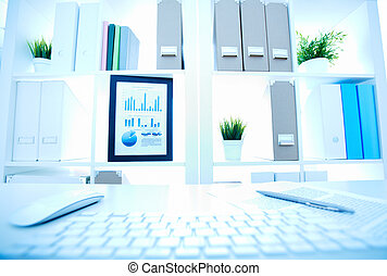 Office objects - Image of an office workplace with different...