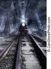 train rides over the bridge, photomanipulation
