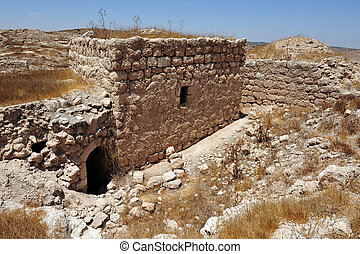 Amatzia Caves - Isr - Ancient ruins in Amatzia Caves near...