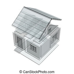 3d sketch of a house Object over white