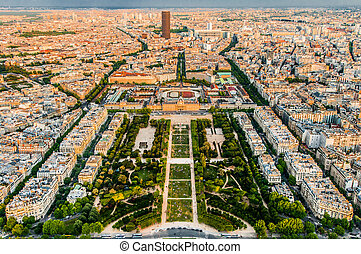 aerial view paris cityscape  France