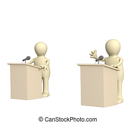 Debate - 3d puppets, participating political debate. Over...