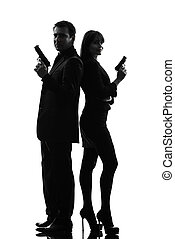 couple woman man detective secret agent criminal silhouette...