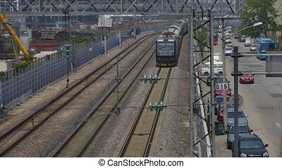 overlook train slowly passing,intercity traffic in...