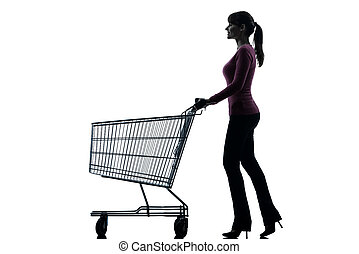 woman with empty shopping cart silhouette - one caucasian...
