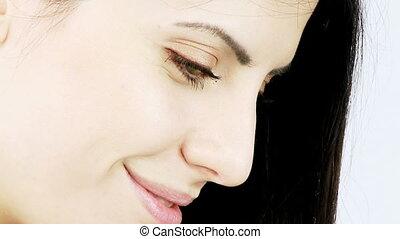 Beautiful shy woman dolly shot