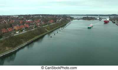 Cargo ships in Kiel Canal, Germany, time lapse
