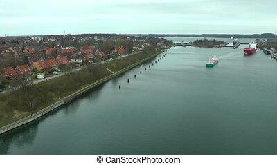 Cargo ships in Kiel Canal, Germany