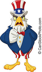 Uncle Sam eagle - American bald eagle dressed as Uncle Sam...