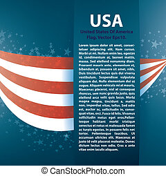 Patriotic wave background with stripes, stars and Text...