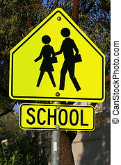 School Crossing Road Sign - Bright school crossing road sign...