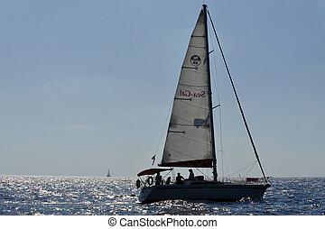 Herzliya Pituah - Israel - HERZLIYA,ISR- OCT 06:Sailng yacht...
